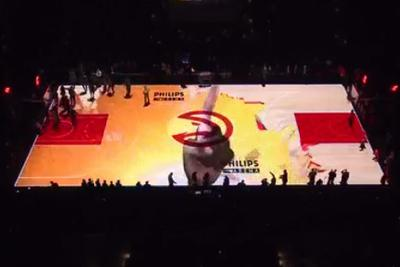 The Hawks honored Dikembe Mutombo with a 50-foot finger wag