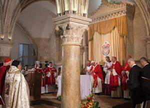 Pope Francis celebrates a mass at the site known as…