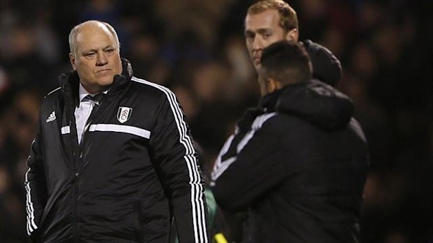 Fulham manager Martin Jol (L) reacts after their English Premier League soccer match against Swansea City at Craven Cottage in London November 23, 2013. (Reuters)
