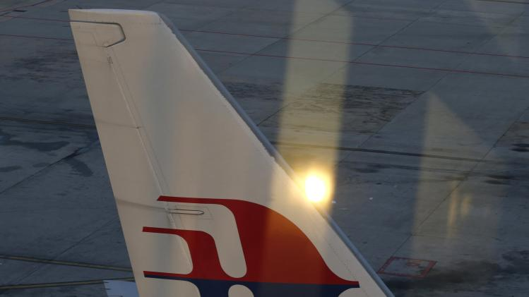 The tail wing of a Malaysia Airlines jet is seen at Kuala Lumpur International Airport