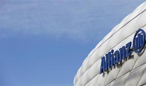 The logo of Europe's biggest insurer Allianz SE is pictured at the Allianz Arena soccer stadium in Munich