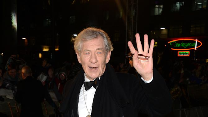 """Actor Ian Mckellen arrives at the UK premiere of """"The Hobbit: An Unexpected Journey """" at The Odeon Leicester Square, London on Wednesday, Dec. 12, 2012. (Photo by Jon Furniss/Invision/AP)"""