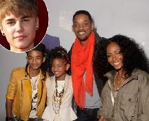 "Jaden Smith, Willow Smith, Will Smith and Jada Pinkett Smith arrive at the ""Justin Bieber: Never Say Never"" Los Angeles premiere held at Nokia Theatre L.A. Live in Los Angeles on February 8, 2011 / inset: Justin Bieber -- Getty Premium"