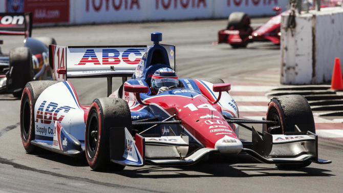 Takuma Sato, of Japan, competes during the IndyCar Series Grand Prix of Long Beach auto race, Sunday, April 21, 2013, in Long Beach, Calif. Sato won the race. (AP Photo/Ringo H.W. Chiu)