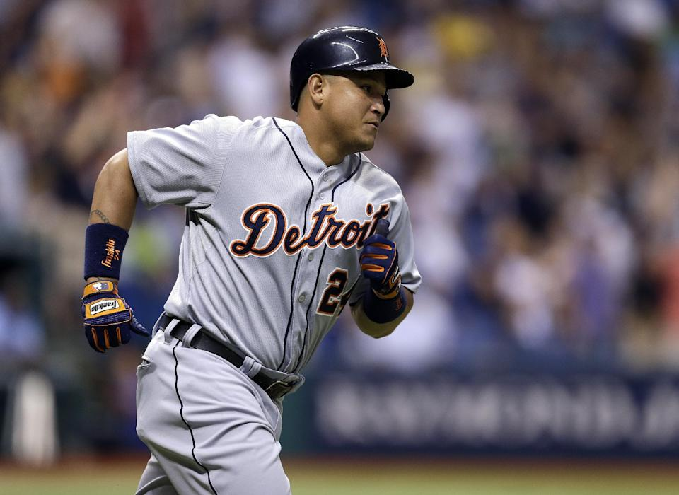 Detroit Tigers' Miguel Cabrera rounds the bases after his fourth-inning home run off Tampa Bay Rays starting pitcher Alex Colome during a baseball game, Friday, June 28, 2013, in St. Petersburg, Fla. Cabrera also homered in the first inning. (AP Photo/Chris O'Meara)