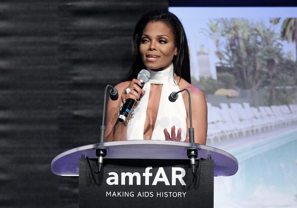 Janet Jackson at the auction for the amfAR Cinema Against AIDS benefit during the 65th Cannes film festival, in Cap d'Antibes, southern France, Thursday, May 24, 2012. (AP Photo/Joel Ryan)