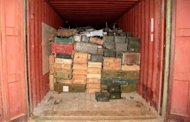 "A handout picture released by the Lebanese army on April 28, 2012 shows crates of ammunition inside one of the containers of the vessel ""Lutfallah II"" at the port of Selaata, north of Beirut"