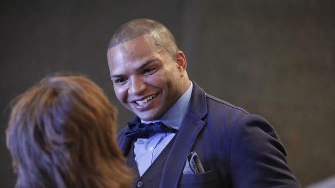 NFL linebacker and Super Bowl Champion Brendon Ayanbadejo of the Baltimore Ravens speaks with guest at Electronic Arts'  LGBT Full Spectrum Event on Thursday, March, 7, 2013 in New York City, New York. (Photo by Amy Sussman/Invision for EA/AP Images)