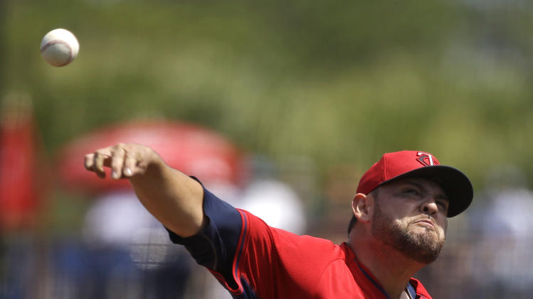 Minnesota Twins starting pitcher Ricky Nolasco pitches in the first inning of an exhibition baseball game against the Tampa Bay Rays in Port Charlotte, Fla., Tuesday, March 11, 2014
