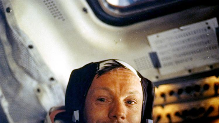 FILE - This July 20, 1969 file photo provided by NASA shows Neil Armstrong. Lunar pioneers plan to attend a private service in Ohio for astronaut Neil Armstrong, Friday Aug. 31, 2012 following an event to announce a children's health fund in his honor.  (AP Photo/NASA)