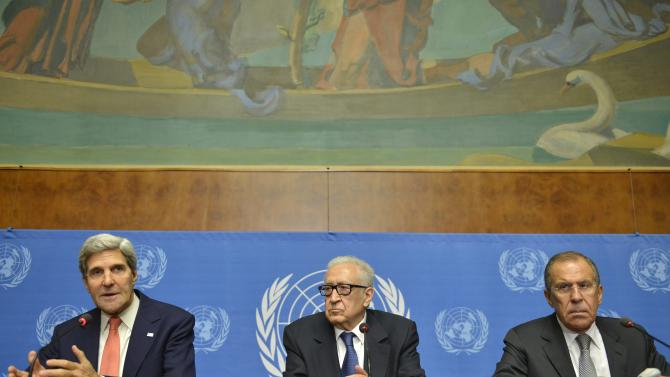 John Kerry, left, US Secretary of State, Lakhdar Brahimi, center, UN Joint Special Representative for Syria and Sergei Lavrov, right, Russian Foreign Minister, attend a press conference after their meeting at the European headquarters of the United Nations in Geneva, Switzerland, Friday, Sept. 13, 2013. Kerry and Lavrov say the prospects for a resumption in the Syria peace process are riding on the outcome of their chemical weapons talks. (AP Photo/Keystone, Martial Trezzini)