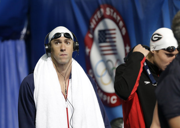 Michael Phelps before swimming in the men&#39;s 400-meter individual medley preliminaries at the U.S. Olympic swimming trials, Monday, June 25, 2012, in Omaha, Neb. (AP Photo/David Phillip)
