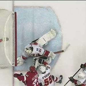 Karri Ramo spins around to stop goal