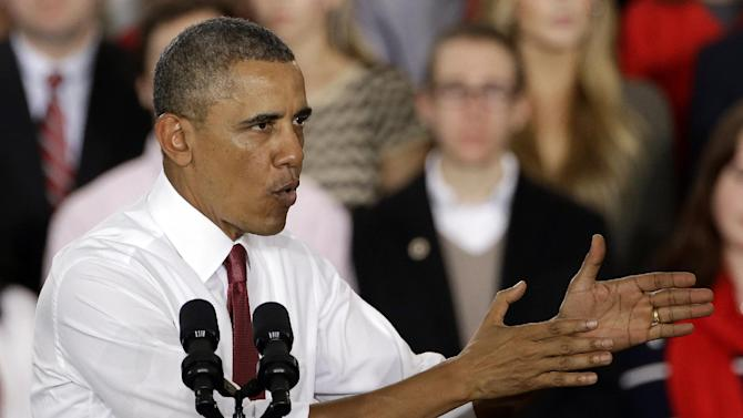 President Barack Obama speaks about the economy and jobs and manufacturing, Wednesday, Jan. 15, 2014, at North Carolina State University in Raleigh, N.C. (AP Photo/Gerry Broome)