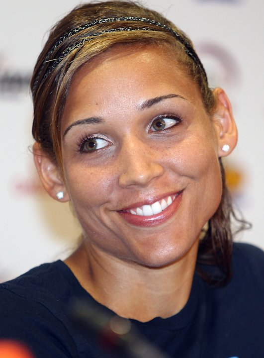 US hurdler Lolo Jones,  during  a press conference on the eve of the IAAF Diamond League series in Doha, Thursday May 5, 2011. (AP Photo/Osama Faisal)