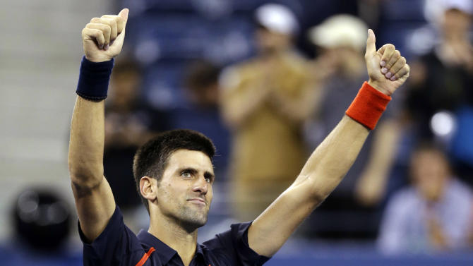 Novak Djokovic, of Serbia, reacts after defeating Juan Martin del Potro, of Argentina, in a quarterfinals match at the U.S. Open tennis tournament, Thursday, Sept. 6, 2012, in New York. Djokovic won 6-2, 7-6 (3), 6-4. (AP Photo/Darron Cummings)