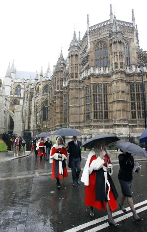 Judges make their way to the Houses of Parliament in central London, Friday, Oct. 1, 2010, after attending the annual service at Westminster Abbey to mark the beginning of the legal year in England and Wales. (AP Photo/Akira Suemori)
