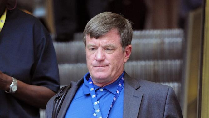 Carolina Panthers general manager Marty Hurney leaves a meeting Friday, July 22, 2011, in Atlanta. NFL general managers and other team executives discuss specifics of the labor agreement approved by owners and make plans for the season while awaiting the players' vote on the deal.  (AP Photo/John Amis)