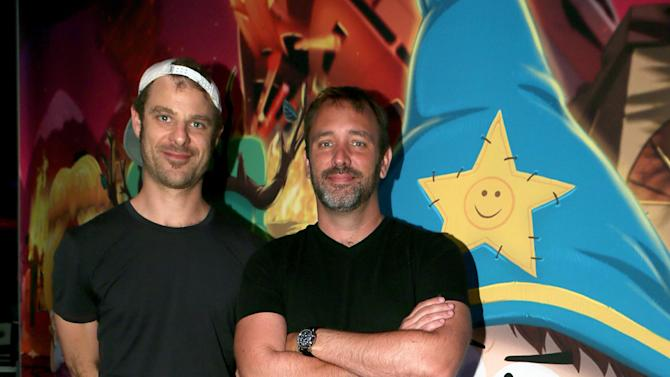 "IMAGE DISTRIBUTED FOR UBISOFT - Matt Stone, left, and Trey Parker visit the Ubisoft booth to discuss ""South Park: The Stick of Truth"" at E3 on Wednesday, June 12, 2013, in Los Angeles. (Photo by Alexandra Wyman/Invision for Ubisoft/AP Images)"