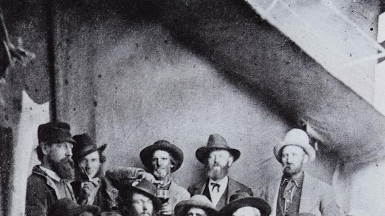 "Miners drinking in a Colorado saloon in the 19th Century as seen on ""Prohibition."""