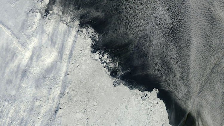 Arctic sea ice pack roughly northeast of the New Siberian Islands