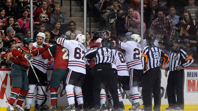 The Minnesota Wild And Chicago Blackhawks Fight Getty Images