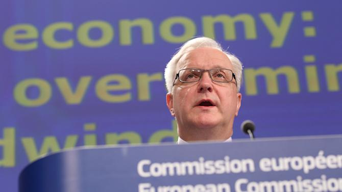 European Commissioner for Economic and Monetary Affairs Olli Rehn addresses the media at the European Commission headquarters in Brussels, Friday, Feb. 22, 2013. The European Commission presented its European economic forecast for 2013. (AP Photo/Yves Logghe)