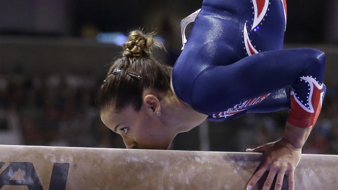 Alicia Sacramone performs on the balance beam during the preliminary round of the women's Olympic gymnastics trials, Friday, June 29, 2012, in San Jose, Calif. (AP Photo/Gregory Bull)