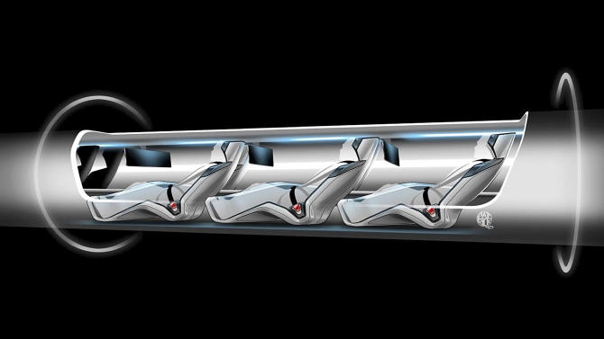 "An image released by Tesla Motors, is a sketch of the Hyperloop capsule with passengers onboard. . Billionaire entrepreneur Elon Musk on Monday, Aug. 12, 2013 unveiled a concept for a transport system he says would make the nearly 400-mile trip in half the time it takes an airplane. The ""Hyperloop"" system would use a large tube with capsules inside that would float on air, traveling at over 700 miles per hour. (AP Photo/Tesla Motors)"