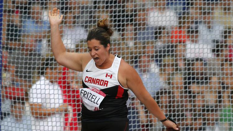 Canada's Frizell competes in the women's hammer throw final at the 2014 Commonwealth Games in Glasgow