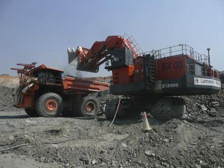 Handout shows a truck being loaded with rocks at an Equinox copper mine in Lumwana, Zambia