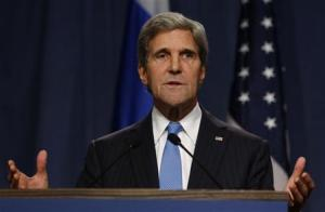U.S. Secretary of State Kerry delivers his opening remarks to the media before a meeting with Russian Foreign Minister Lavrov to discuss the ongoing crisis in Syria, in Geneva