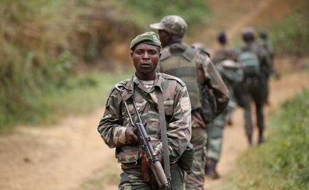 Democratic Republic of Congo military personnel patrol against the Allied Democratic Forces and the National Army for the Liberation of Uganda rebels, near Beni