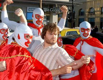 Jack Black with the Nachos at the Hollywood premiere of Paramount Pictures' Nacho Libre