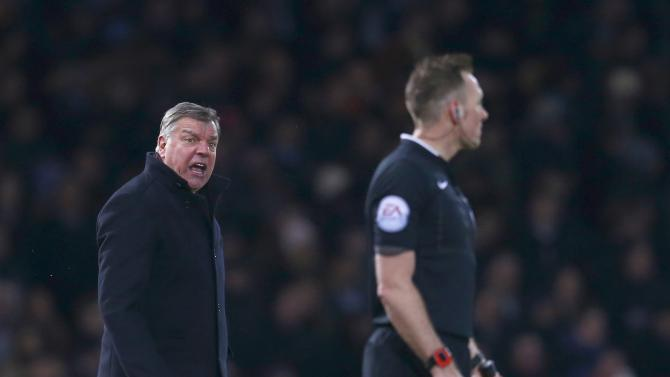 West Ham United manager Sam Allardyce shouts at the linesman during their English Premier League soccer match against Arsenal at Upton Park in London
