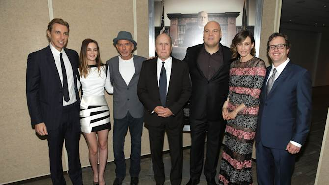 "Dax Shepard, Leighton Meester, Billy Bob Thorton, Robert Duvall, Vincent D'Onofrio, Vera Farmiga and Director/Producer/Writer David Dobkin seen at Warner Bros. Picture's Los Angeles Premiere of ""The Judge"" held at Samuel Goldwyn Theatre, AMPAS on Wed, Oct 1, 2014, in Los Angeles. (Photo by Eric Charbonneau/Invision for Warner Bros./AP Images)"