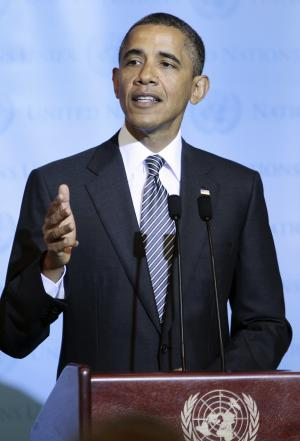 President Barack Obama speaks at the Libya Contact Group Meeting at the UN Building, Tuesday, Sept., 20, 2011. (AP Photo/Pablo Martinez Monsivais)