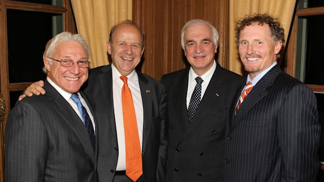 Second from left, Belgium's 'Commander of the Order of the Crown' recipient Roch Doliveux, CEO and Chairman of the Executive Committee of UCB, a Belgian-based global biopharmaceutical company with U.S. headquarters in Atlanta, Ga., poses for a photo with, left to right, James Greenwood, President and CEO of the Biotechnology Industry Organization,  The Ambassador of Belgium, Jan Matthysen, and Greg Duncan, UCB President of North American Operations, at an event celebrating UCB's 75-year presence in the U.S. at the Belgian Residence on November 8, 2012 in Washington, D.C. (Paul Morigi/AP Images for UCB, Inc.)