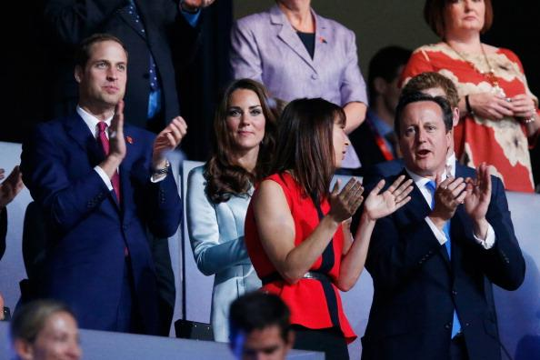 Prince William, Duke of Cambridge, Catherine, Duchess of Cambridge, Samantha Cameron and Prime Minister David Cameron during the Opening Ceremony of the London 2012 Olympic Games at the Olympic Stadium on July 27, 2012 in London, England. (Photo by Pool/Getty Images)