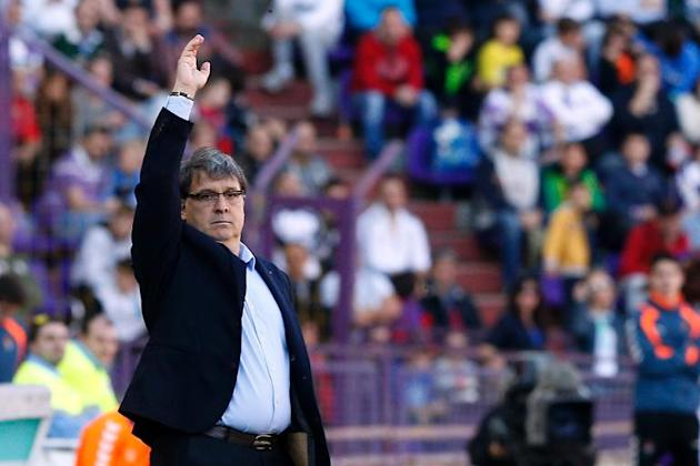 Barcelona coach Gerardo Martino during his side's Spanish league match against Valladolid at the Jose Zorilla stadium on March 8, 2014