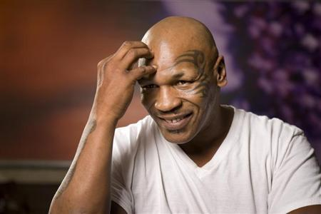 Former undisputed heavyweight boxing champion Mike Tyson thinks over a question during an interview at the MGM Grand Hotel and Casino in Las Vegas