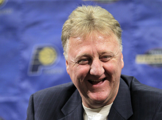 FILE - In this June 22, 2010, file photo, Indiana Pacers president Larry Bird talks about the NBA basketball team's prospects in the upcoming draft during a news conference in Indianapolis. Bird was v