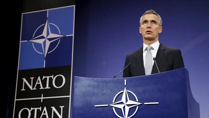 Stoltenberg addresses a news conference at the Alliance headquarters in Brussels