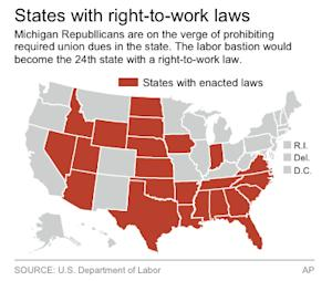 Map locating all U.S. states with right-to-work laws.