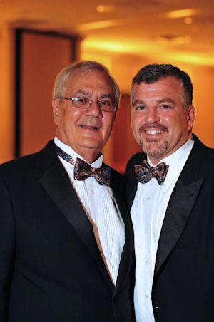 This undated image provided by Fotique shows U.S. Rep. Barney Frank, D-Mass., left, and Jim Ready posing at their wedding reception Saturday July 7, 2012. Frank married his longtime partner in a ceremony officiated by Massachusetts Gov. Deval Patrick in Newton, Mass. Saturday. (AP Photo/Fotique, Jaime E. Connolly)