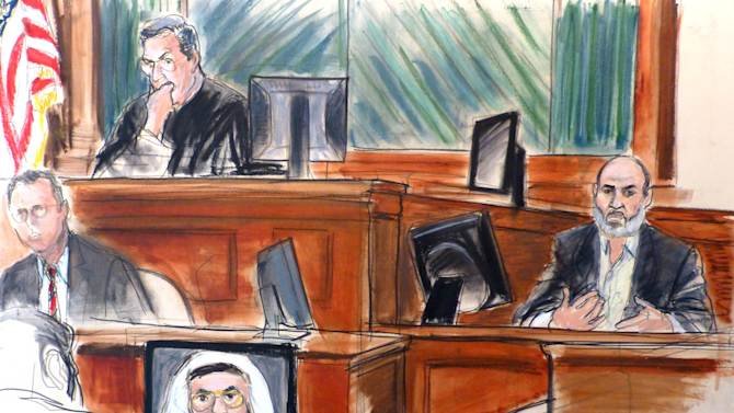 FILE - In this Wednesday, March 19, 2014 courtroom sketch Osama bin Laden's son-in-law, Sulaiman Abu Ghaith, right, testifies at his trial in New York, on charges he conspired to kill Americans and aid al-Qaida as a spokesman for the terrorist group. Abu Ghaith, who was convicted in March, is due in court on Tuesday Sept. 22, 2014, to face a possible life sentence for his role as the spokesman for al-Qaida following the Sept. 11, 2001 terror attacks. (AP Photo/Elizabeth Williams, File)