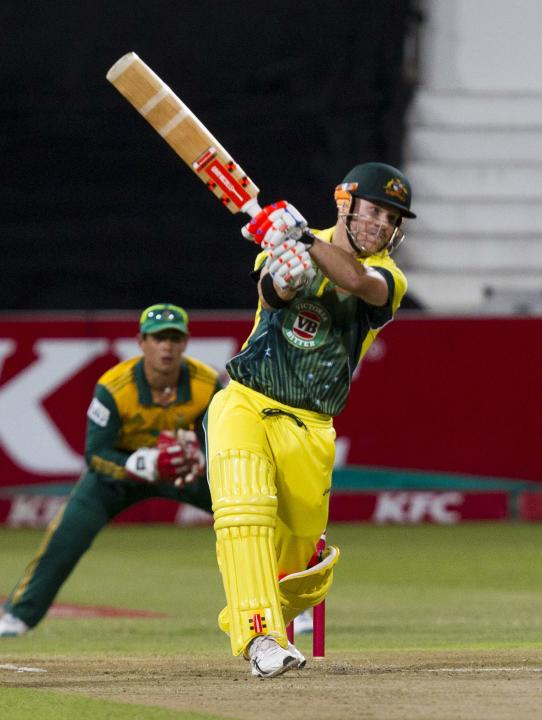 Australia's Warner plays a shot during the cricket T20 International cricket match against South Africa in Durban