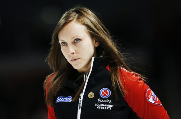 Ontario skip Homan looks on in play against Manitoba during their gold medal game at the Scotties Tournament of Hearts curling championship in Kingston