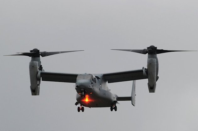 A V-22 Osprey takes part in a flying display at the Farnborough International Airshow in southern England, on July 9, 2012. Chinese cyber hackers have breached networks containing designs for an array of advanced US weapons programs, such as the V-22 tilt-rotor Osprey, officials said Tuesday