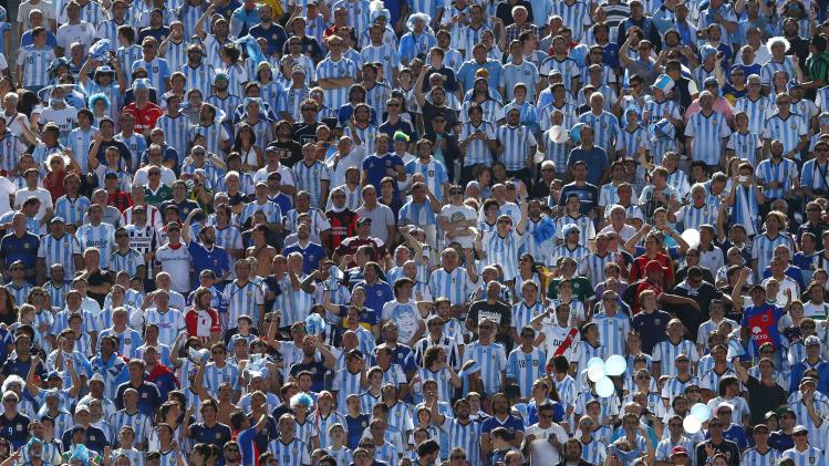 File photo of Argentina fans waiting for the 2014 World Cup round of 16 game between Argentina and Switzerland at Corinthians arena in Sao Paulo